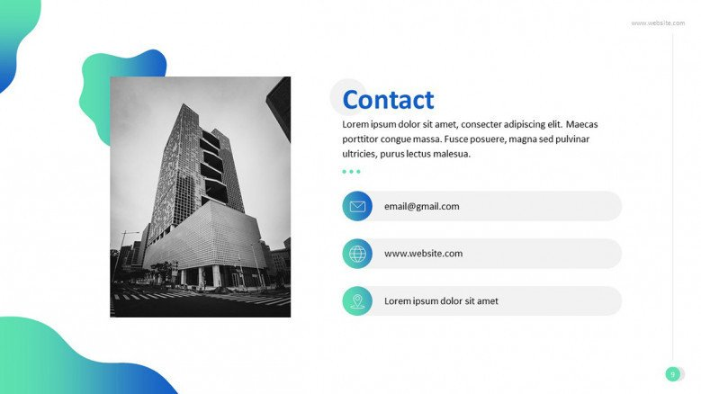 contact information slide with image
