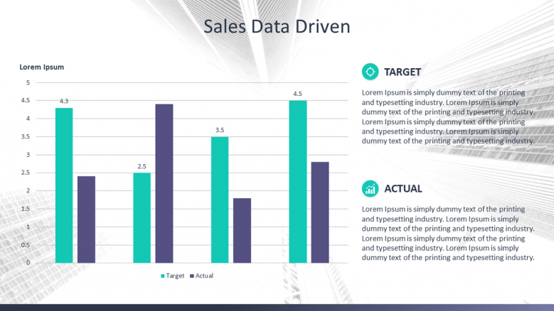 data driven sales slide with vertical bar chart
