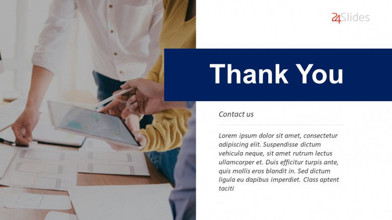 blue-and-white corporate thank you slide