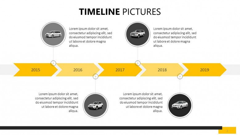 five sequenced timeline pictures slide