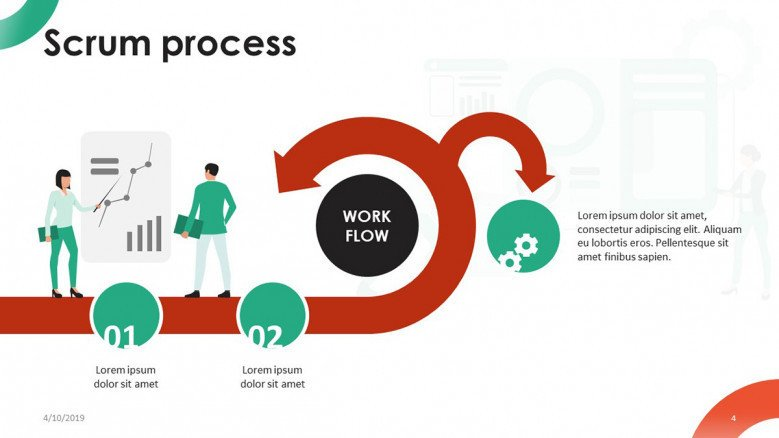 scrum process workflow chart with playful illustration
