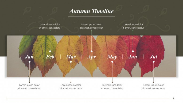 Creative Autumn Timeline with fall leaves changing colors as background