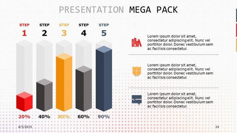 vertical bar chart in five stages with icon and text