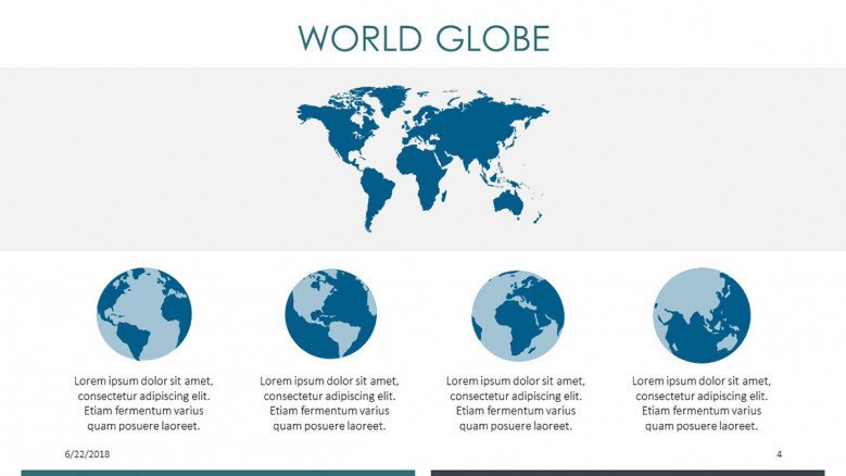 world globe in four segmented text summary