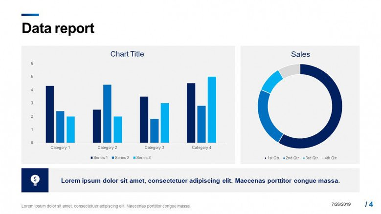 Data report slide with column bars and doughnut chart in corporate style