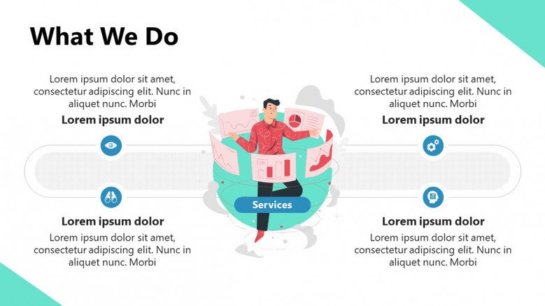 Services PowerPoint Slide for a Startup Pitch deck featuring illustration