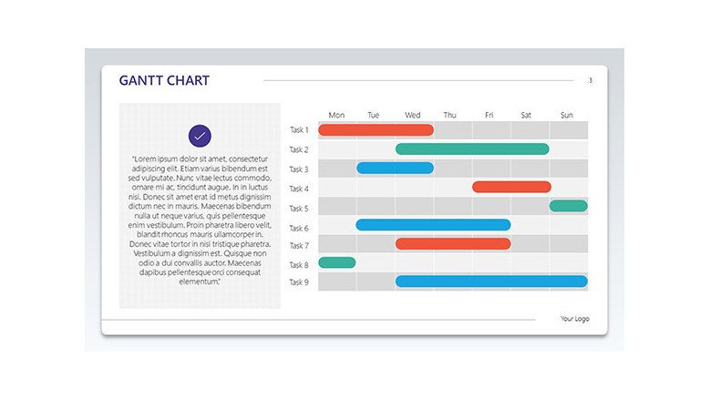 Text on the left hand side and gantt chart on the right hand side