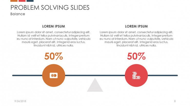 problem solving slide with data percentage in scale chart analysis