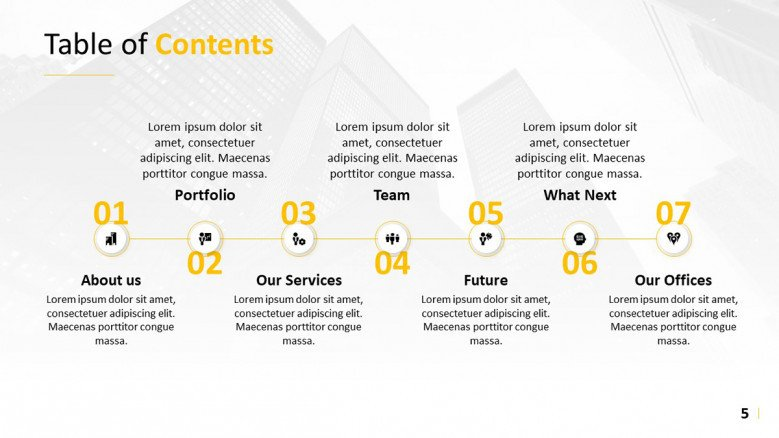 Horizontal Table of Contents for a business presentation