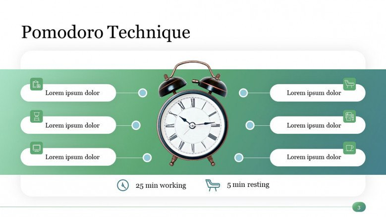 Pomodoro Technique Slide from the Time Management PowerPoint Template