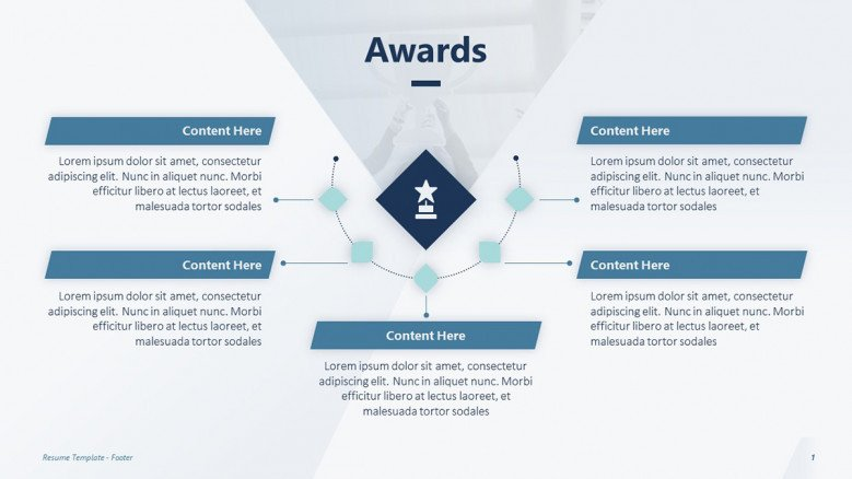 Awards section for a creative resume presentation