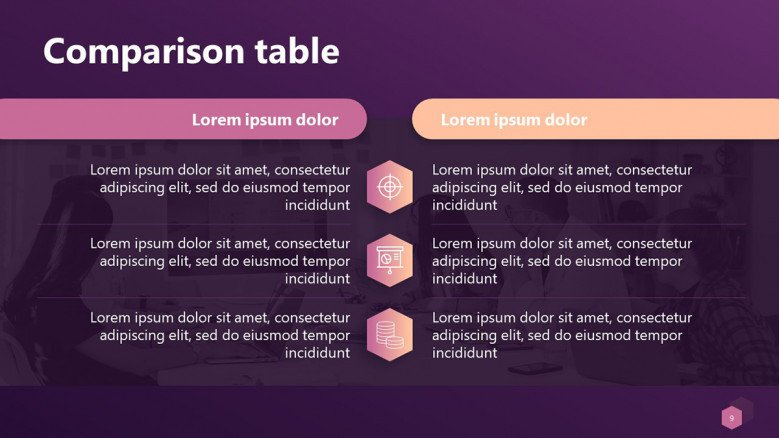 Comparison Table PowerPoint Template in creative style