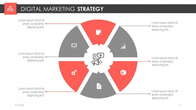 digital marketing slide in cycle chart with icons