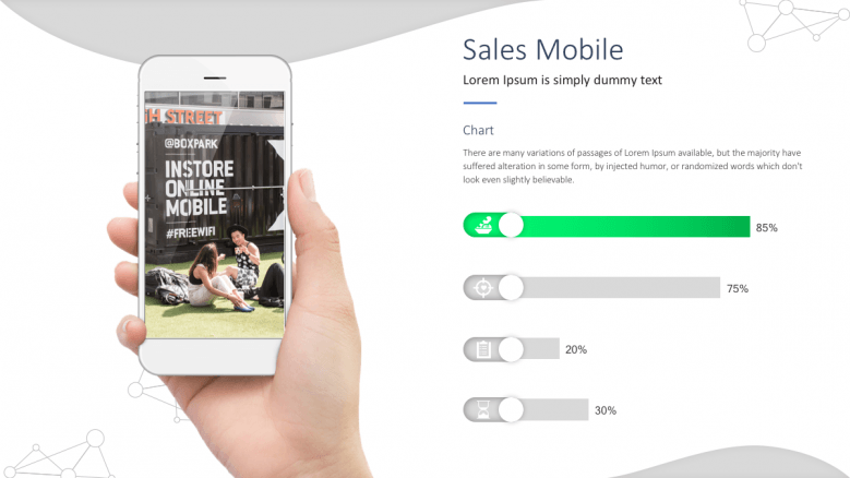 Sales mobile slide with chart