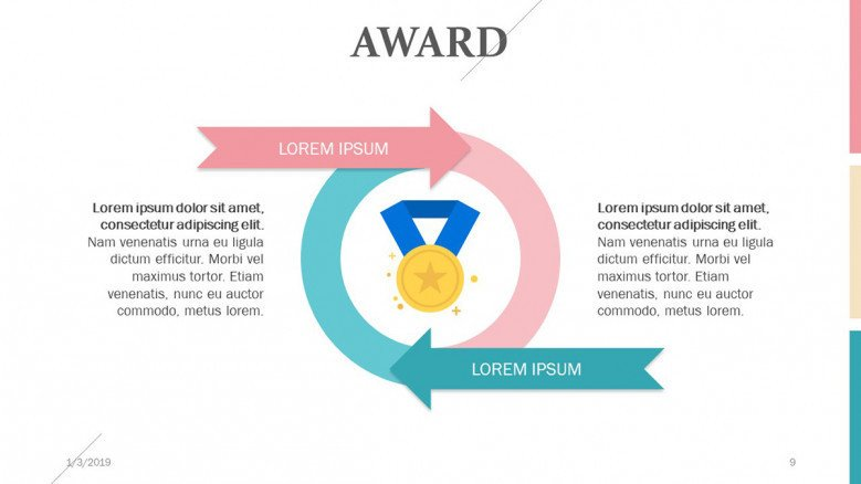 award presenting in circle chart with arrow and text