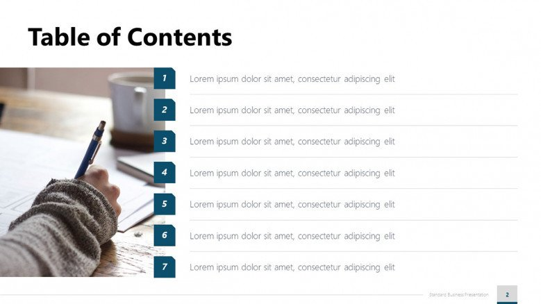 Blue Table of Contents for a Business Presentation