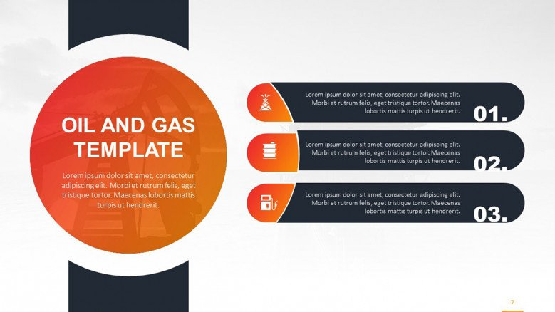 Creative three-points list with oil and gas related icons in colors orange and blue