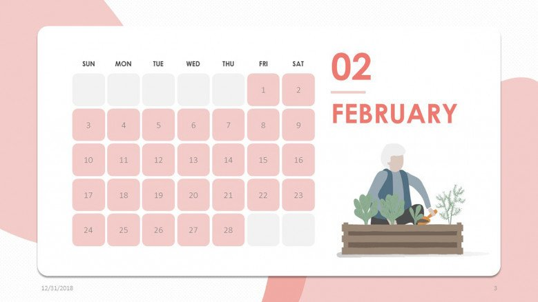 creative February slide in pink with people illustration