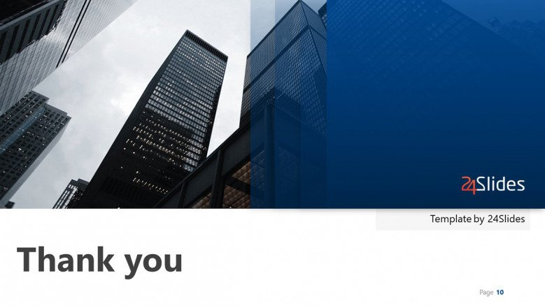 blue thank you slide for a corporate presentation