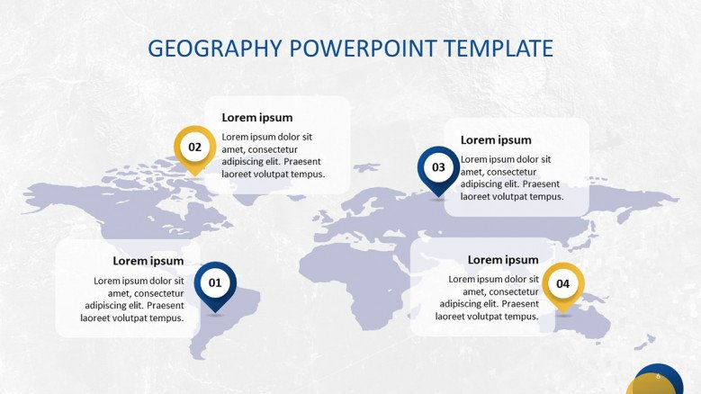 Geography Map with pointers and descriptions