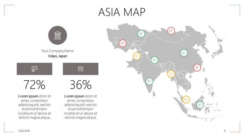 Asia map slide with percentage and text