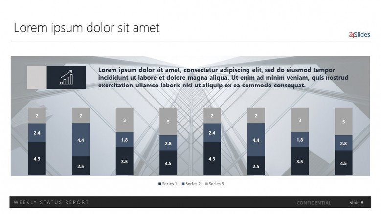 eight data-driven stacked columns for a corporate presentation