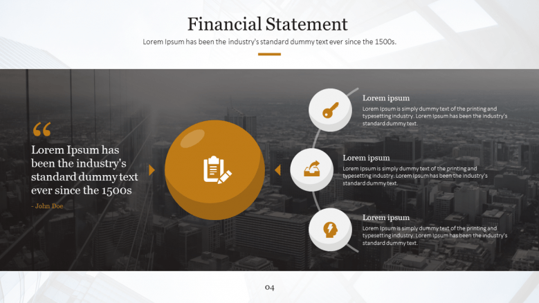 generic text slide for finance presentation
