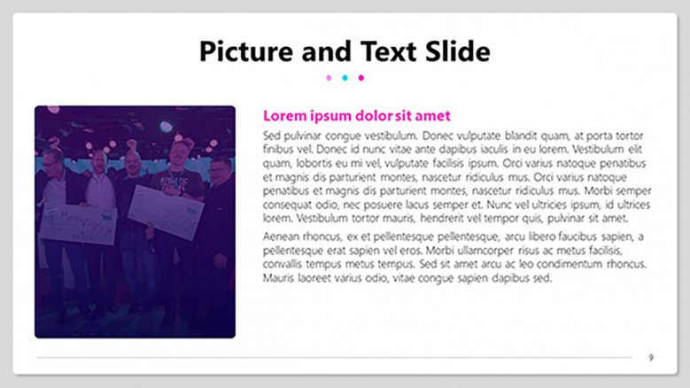 Picture and text slide for a quiz template