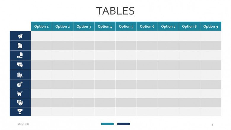 table with icons