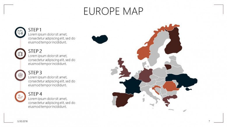 Europe map slide with steps