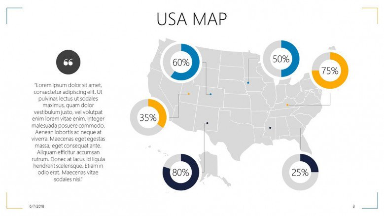 USA map highlighted areas with data driven percentage in circle chart