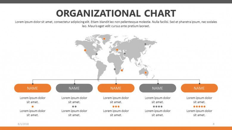 company organizational chart slide presentation with world map