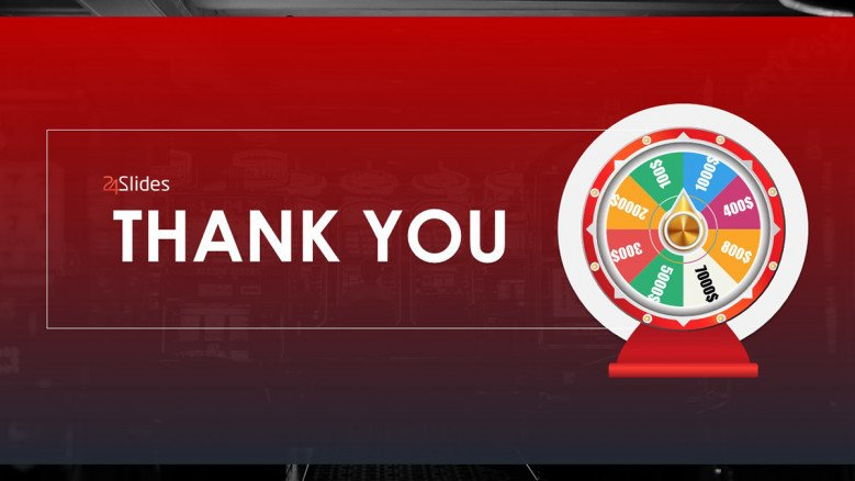 Red Thank You Slide with a Wheel of Fortune