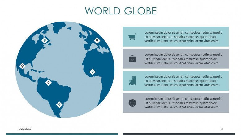 world globe slide in four icons summarized target