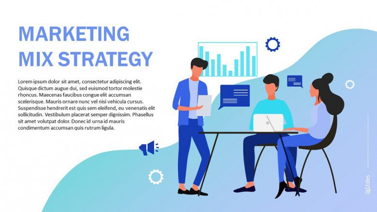 Marketing Mix PowerPoint Template in playful style