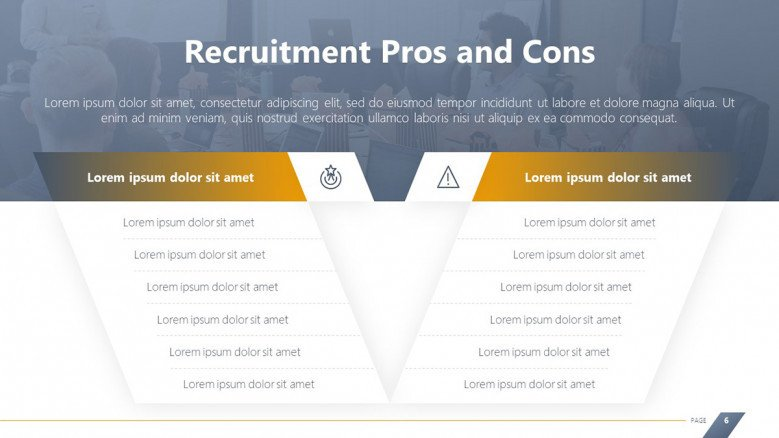 Comparison Slide for Recruitment Pros and Cons