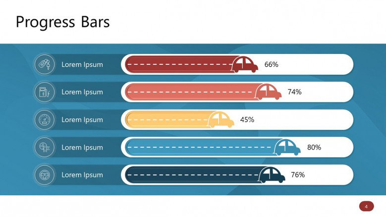 Five Horizontal PowerPoint Progress Bars with car icons
