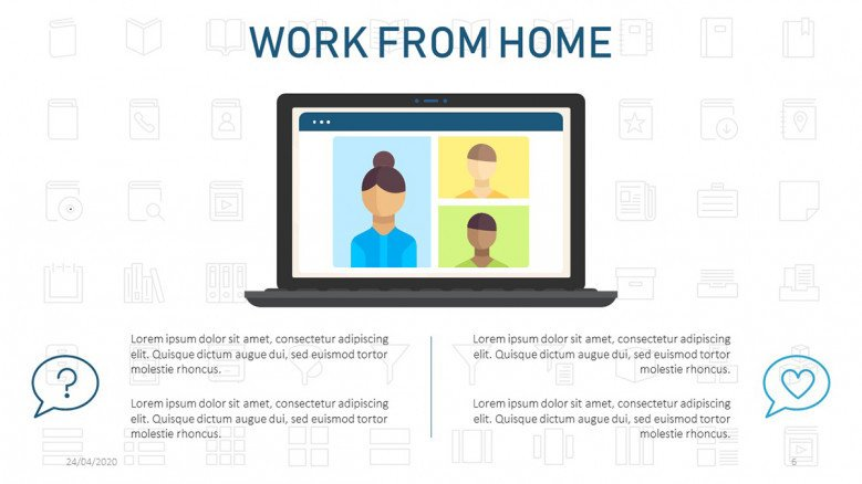 Video call illustration for a work from home presentation