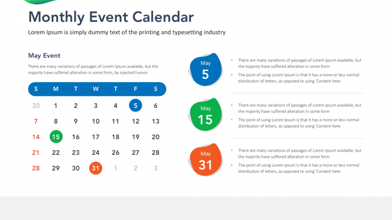 calendar with 3 highlighted event date