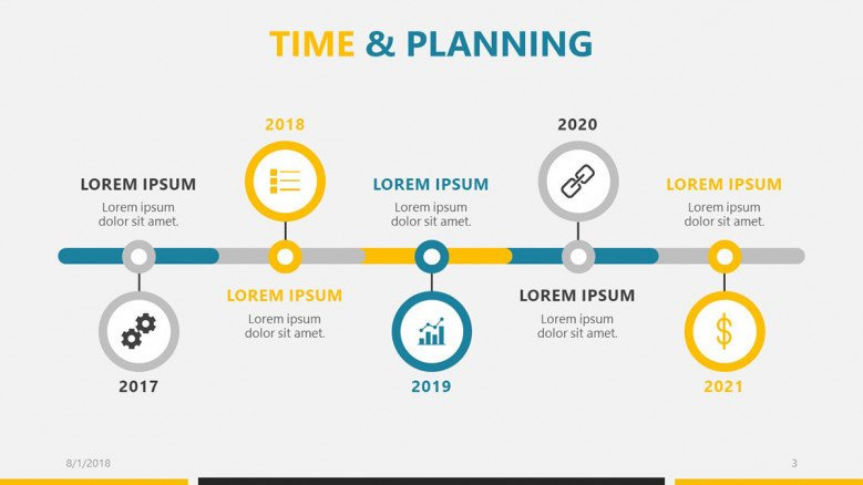 business roadmap presentation time and planning slide with icon