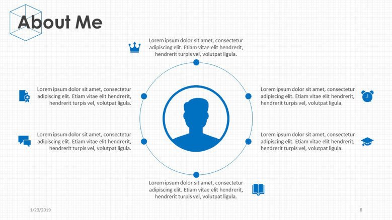 about me presentation in circle chart with icon