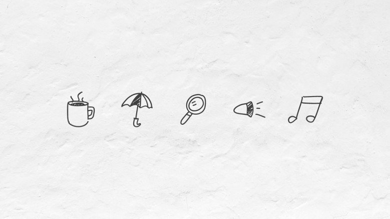 Hand drawn icons for presentations