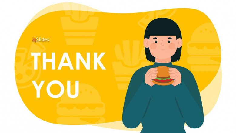 Yellow Thank You Slide with illustration of a person eating a hamburger