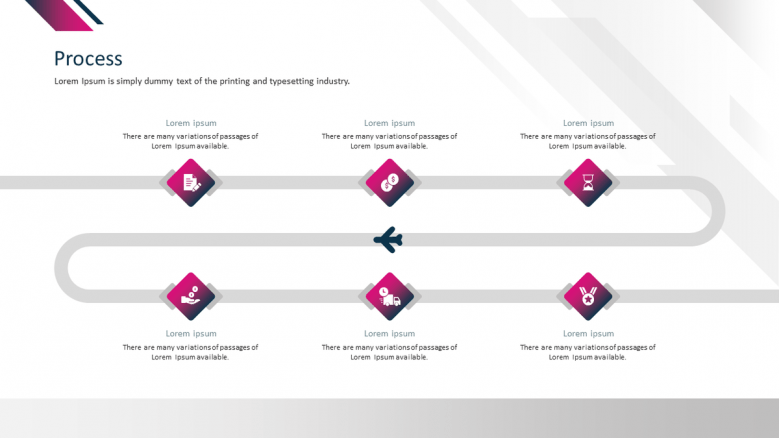 corporate presentation process slide in six stages
