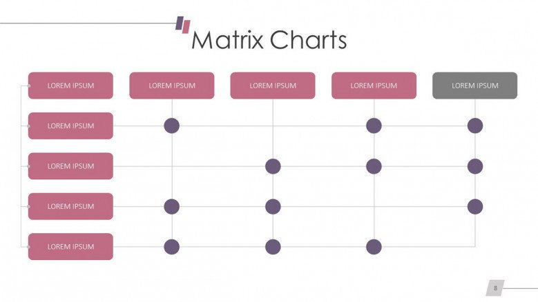 table-like matrix chart slide with dots