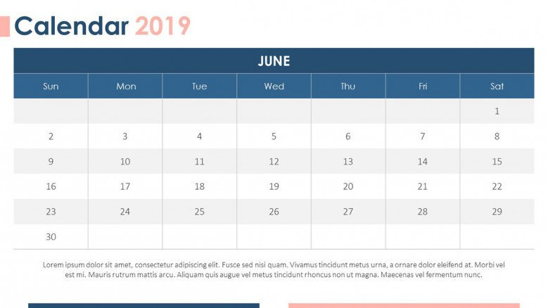 2019 calendar in June with text