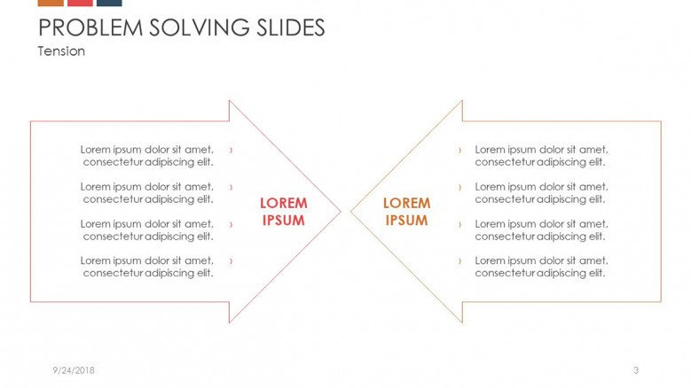 problem solving slide in arrow charts with points text analysis