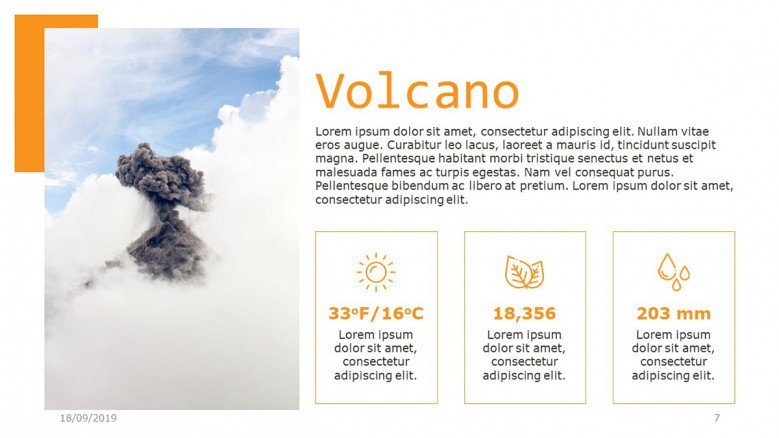 Volcano facts slide with creative icons