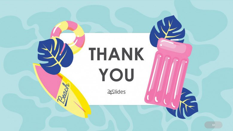 Thank You Slide with pool floats