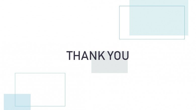Light-themed thank you slide with rectangle shapes